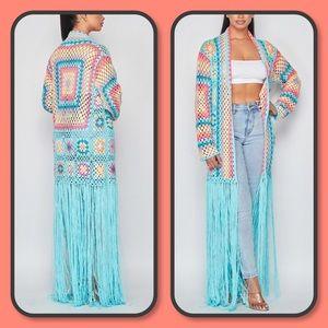Number 1 Blue Multicolor Fringe Crochet Cardigan